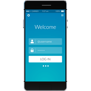 Salesforce App Cloud implementation represented by mobile with app login screen