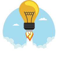 Sales Cloud consultancy represented by flying light bulb