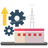 Sales Cloud integration represented by gears and wires