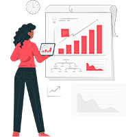 Salesforce consulting partner strategy services represented by businessperson with statistics